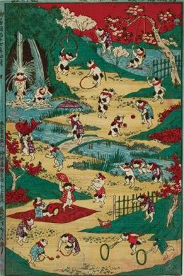 歌川国利「新板猫の戯」大判錦絵、明治17年(1884)<後段にて展示>